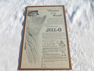 WONDERFUL Antique Vintage FRAMED JELLO AD Desserts of thd World 1910 Jell-O