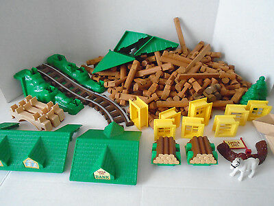 Lincoln Logs Lot with Roof Tops Horse Train Tracks and More