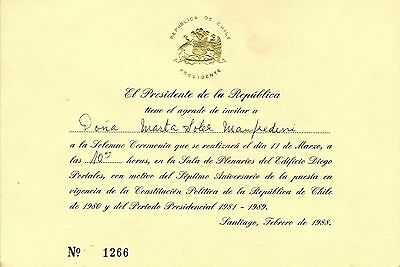 Chile 1988 Invitation from President Augusto Pinochet
