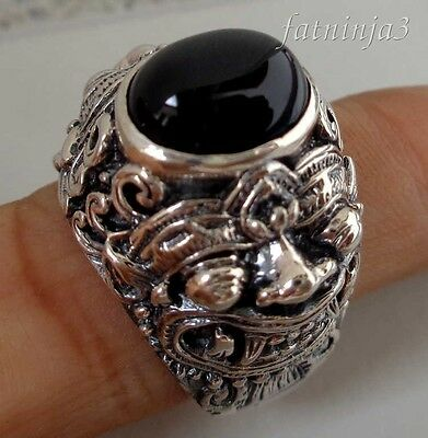 Size 9 (US) Black Onyx Solid Silver, 925 Balinese Barong Design Ring 33591