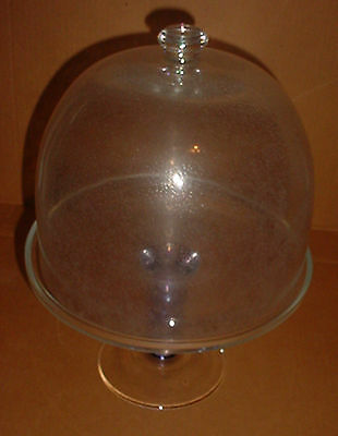 Vintage Glass Pedestal Cake Plate w Controlled Bubble Dome Cover Blue Pedestal