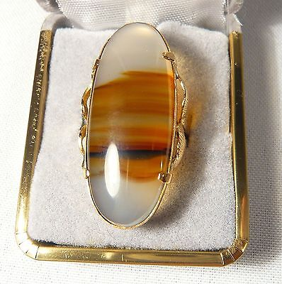 """Victorian Solid 10K Gold & Scottish Carnelian AGATE RING 1 5/8""""  Size 6  8.5 g"""