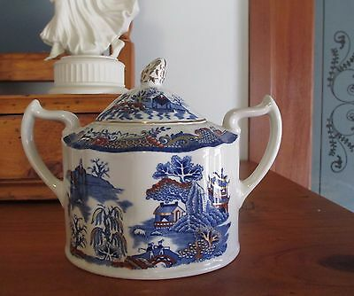"Vintage ~ MASON'S IRONSTONE ""Gold Willow"" Lidded Sugar Bowl~Blue~Made in England"