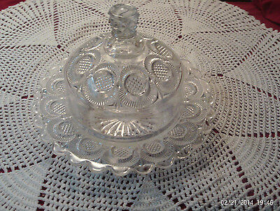 """Clear Glass Crystal Butter Cheese Dish Scalloped Dots Lines Base 8"""" Wide"""