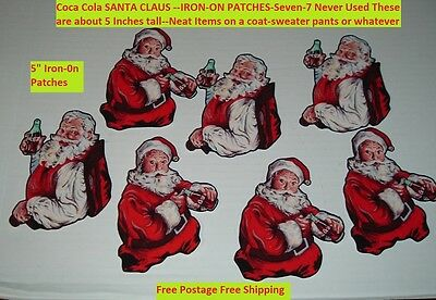 "Lot 7 Coca Cola Soda Pop Coke Santa Claus IRON-ON Patches 5"" tall Never Used!"