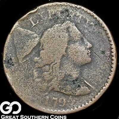 1794 Large Cent, Flowing Hair Liberty Cap, Rare Early Copper Survivor, Free S/H!