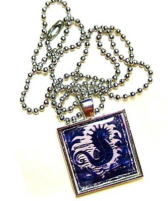 Indigo Blue Tattoo Style Seahorse Artisan Crafted Altered Art Pendant Necklace