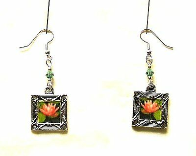 Sacred Lotus Blossom Flower Charms On Silver Plated Earrings Zen Yoga Buddha