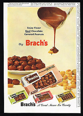 1955 Brach's Chocolate Candy Peanuts Clusters Stars Caramels Vintage Print Ad