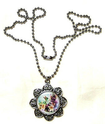 Colorful Hummingbird And Flowers  Pendant With Necklace Hand Crafted Altered Art