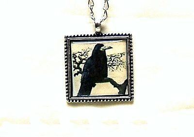 Black Raven Crow Pendant W/ Silver Plated Necklace Good Luck Symbol