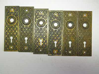 old 6 EASTLAKE CAST IRON DOOR KNOB BACK PLATES 1870s hardware
