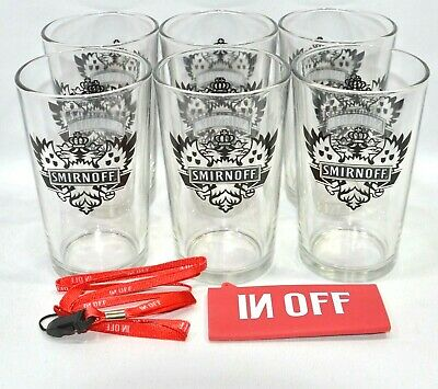 "SMIRNOFF VODKA 6 Verres tumbler ""Black Label""  + housse tour cou MP3 NEUF"