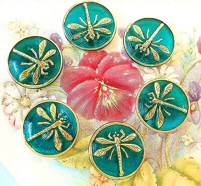 "UNIQUE Glass No Shank Buttons (6 pcs)-Cabochons #G471 - 18 mm-3/4""- DRAGONFLIES"