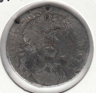 """1689 WILLIAM & MARY """"Tin with square Copper plug""""- EXTREMELY RARE COIN peck 563"""
