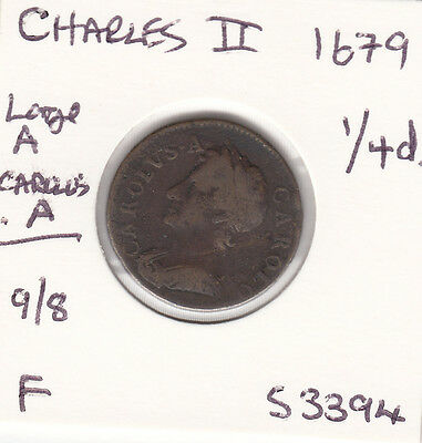 """1679 Charles II Farthing Spink 3394 """"9/8"""" UNRECORDED - SEE DESCRIPTION"""