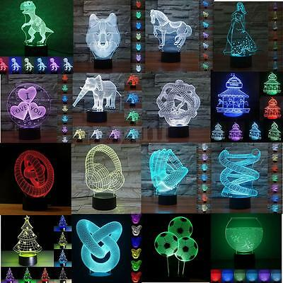 3D LED Night Light 7 Color Change Desk Touch Switch Table Lamp Xmas Gifts Decor