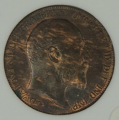1907 Edward VII Penny UNC NCC ms63 S3990 Freeman 585 dies 1+A great example