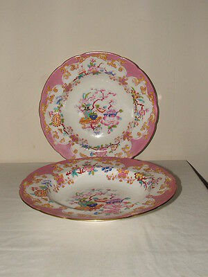 Mintons Aesthetic Pink Oriental Garden From Harrods Rare Soup Plates  Stunning