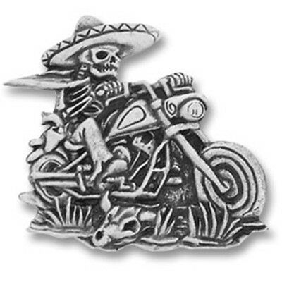 NEW Mexican Skeleton Rider Biker Motorcycle Pewter Pin Badge from Fat Skeleton