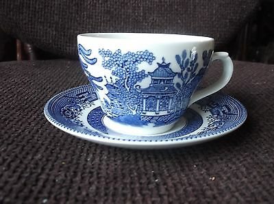 Elegant Shape Churchill Willow Pattern Blue & White Cup And Saucer