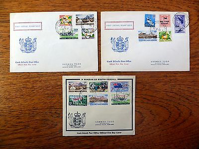 COOK ISLANDS 1965/66 Airmails & Churchill Official FDC's (3) NEW PRICE FP8560