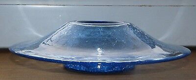 Vintage Blenko Art Glass (USA) Blue Crackle Hat Vase