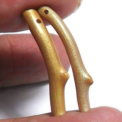 Quality 5ct Natural Untreated Golden Coral Branch 28mm Pair ~天然珊瑚~Rainbow Sheen