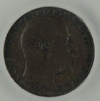 """1905 Edward VII Farthing CGS graded at 65 """"about UNC"""" S3992 & F583 Dies 1+A"""