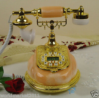 European Archaized Backlight Hands-Free Jade+Metal Golden Collectable Telephone