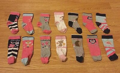 M&S Girls Days Of The Week Socks - Size: 3-5.5 Infant