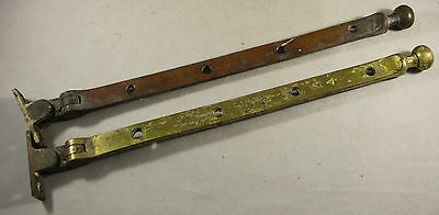 """Pair Of Antique Brass Window Fittings 12"""" Long"""