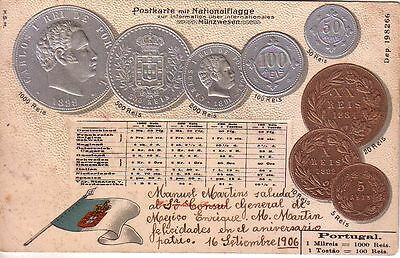 Portugal  - 1906 Coins and flag used embossed postcard
