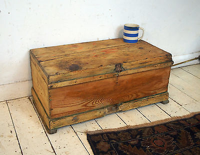 Vintage Victorian wooden trunk, box, bedside table TV stand retro industrial