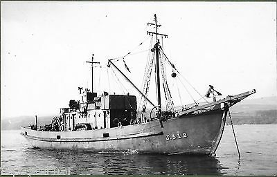 WW2 Minesweeper HMS J.512 Moored Off Londonderry, Northern Ireland 1940's.