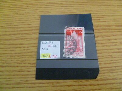 Vatican SG 51 used catalogue value £85 - Ref RV22