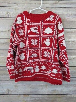 Kids ugly Christmas Party sweater red white knit patch girls boys size Large 6X