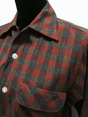 Vtg 50s 60s Men's Plaid Wool Rockabilly Loop Collar Shirt Gordon Small 14-14 1/2