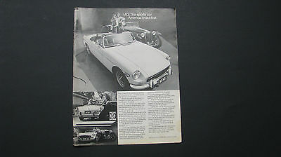MGB Original Print Ad - 1972 - Classic Car Advertising - British Import