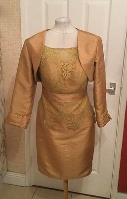Ladies Gold Lace Look Dressy Mother of the Bride Dress Outfit Size 10