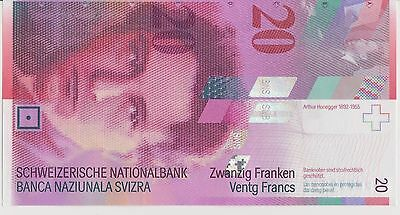 Swiss 20 franc note uncirculated condition. - see scan