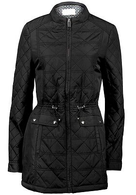 New ladies Womens black quilted padded winter long jacket coat size 10