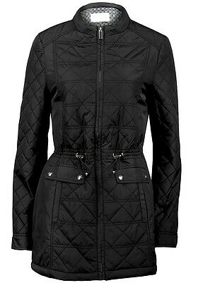 New ladies Womens black quilted padded winter long jacket coat size 8