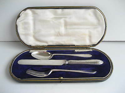 Solid Silver Childs Boxed Set Fork Knife & Spoon Sheffield 1916 Christening ?