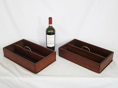 Superb Matching Pair !! Georgian Antique Mahogany Cutlery Boxes Butlers Trays