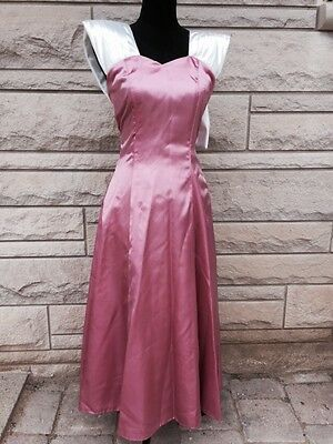 Vtg 80s Pink Satin Huge Bow Party Prom Ugly Bridesmaid Dress XS Small