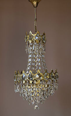 Elegant Petite Antique French Vintage Crystal Chandelier Lamp Lighting Lustre