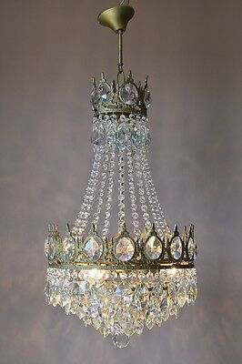 Classic ANTIQUE Lustre French Vintage Crystal Chandelier Lamp 1940's Lighting