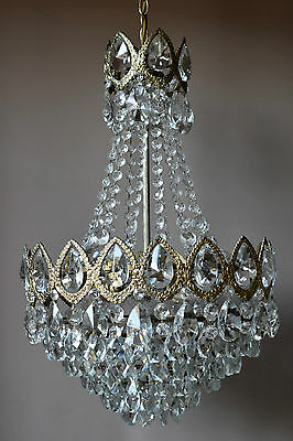 "Large 16.53"" Original Lighting Vintage Lamp Antique Lustre Crystal Chandelier"