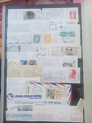 Page Advertising Slogan Cancels Cut Outs Postmarks France Germany Usa Norway